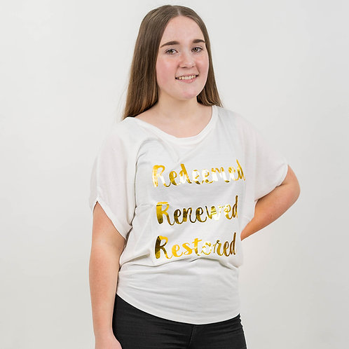 Redeemed Renewed Restored White and Gold T-Shirt