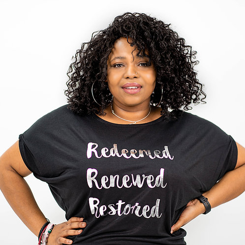 Redeemed Renewed Restored Black and Silver T-Shirt