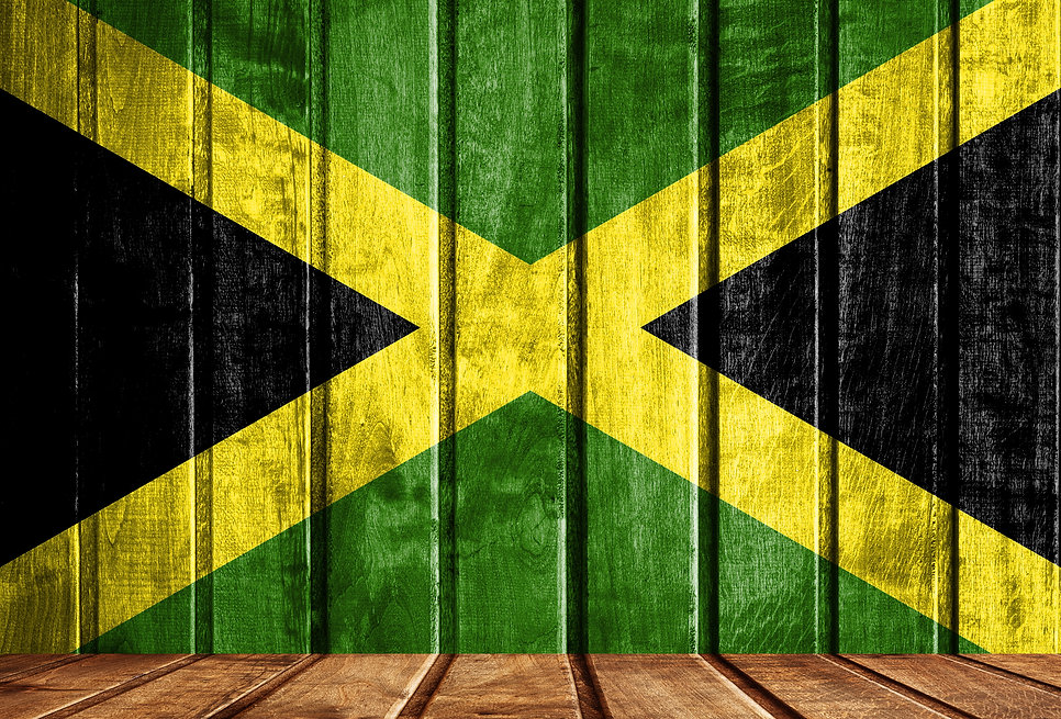 Wooden background with a flag of Jamaica