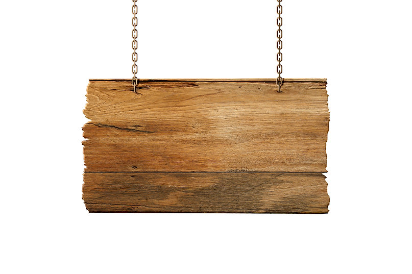 Hanging wooden sign isolated on white_