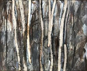 'cotton strips on bitumen'