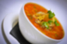 Soup bowl, croutons, tomato