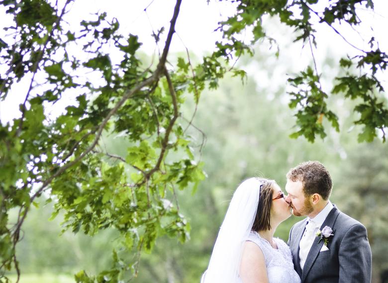 Brdie, groom, kiss, trees, Lymm
