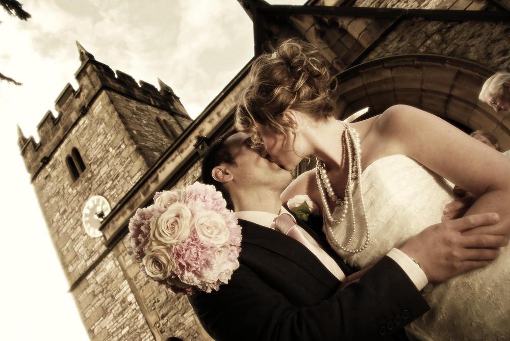 Bride, groom, church