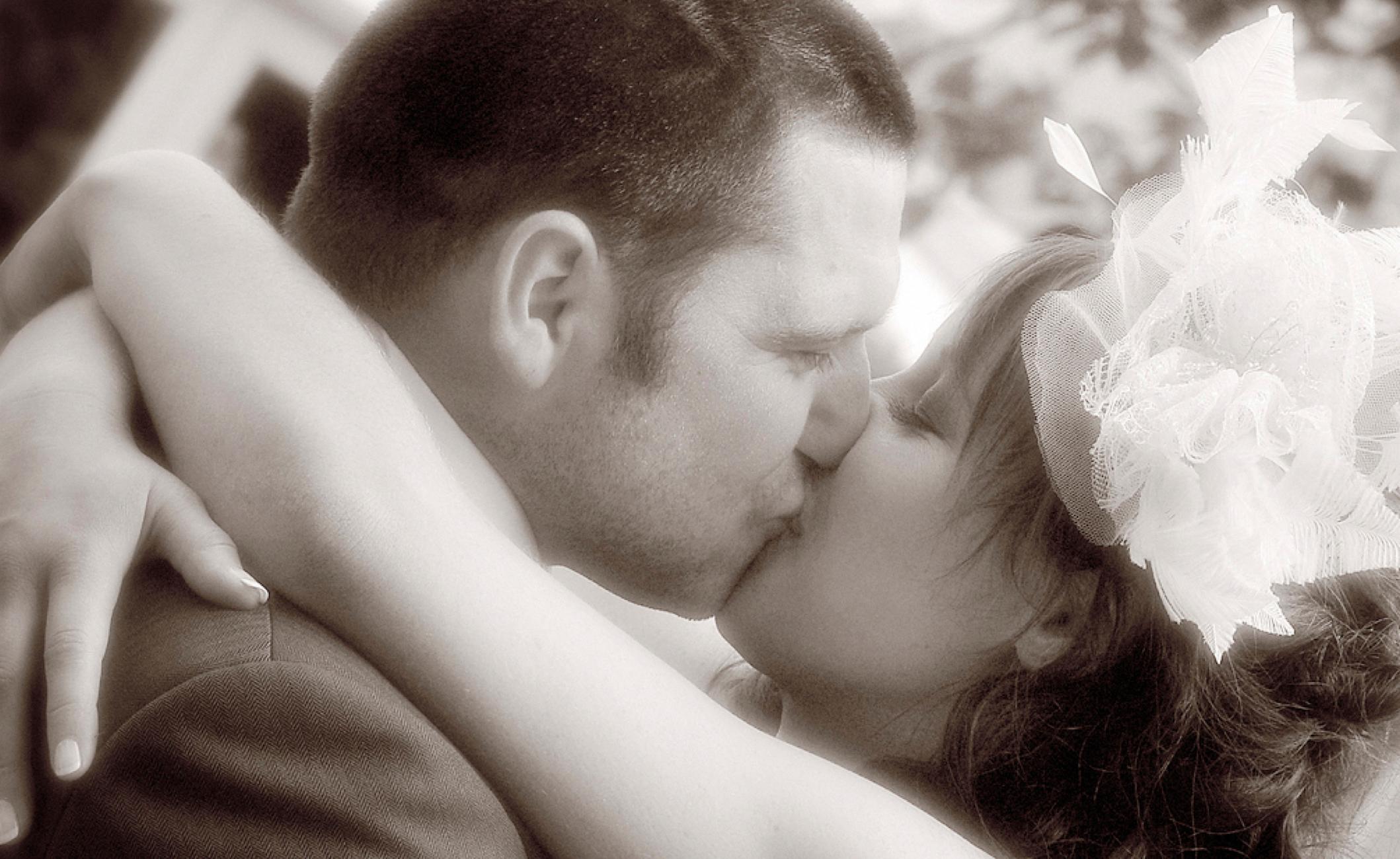 Bride and groom kiss!