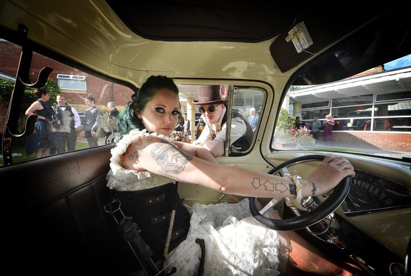 Steam-punk, bride, groom