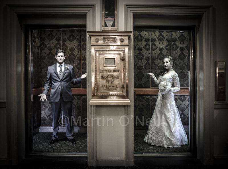 Bride and groom, elevators, lifts