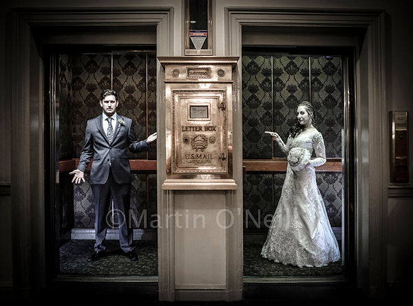 Bride, groom, elevator, hotel