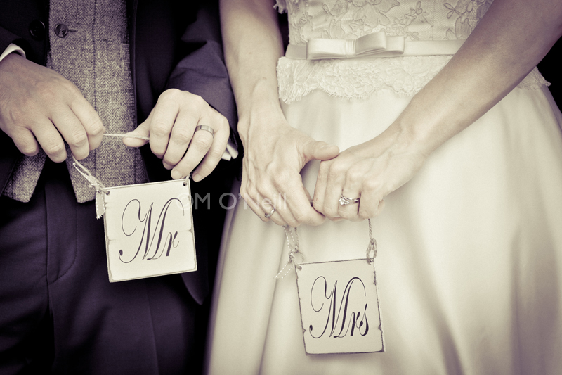 Bride, groom, Mr and Mrs signs