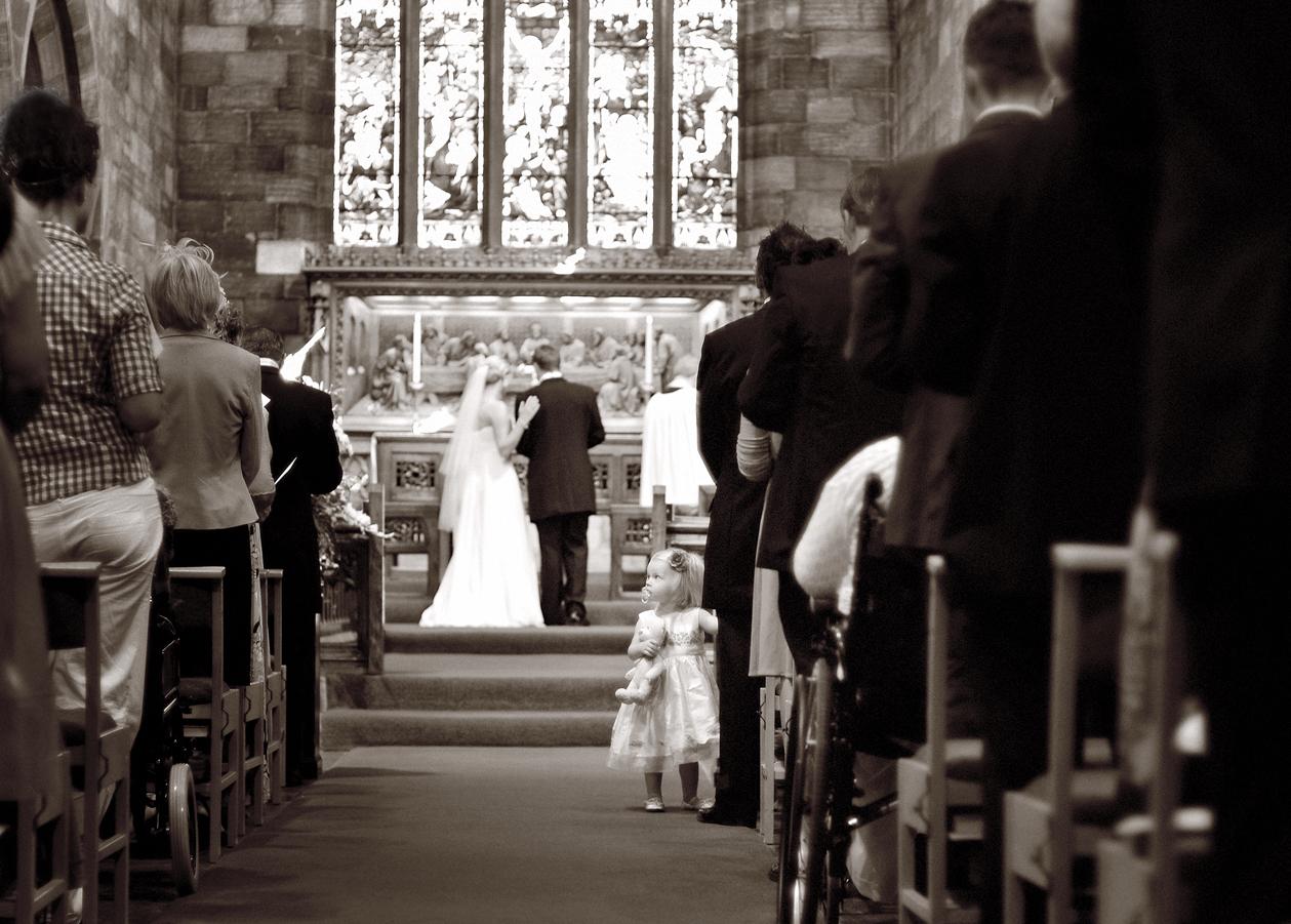 Girl, guest, wedding, church