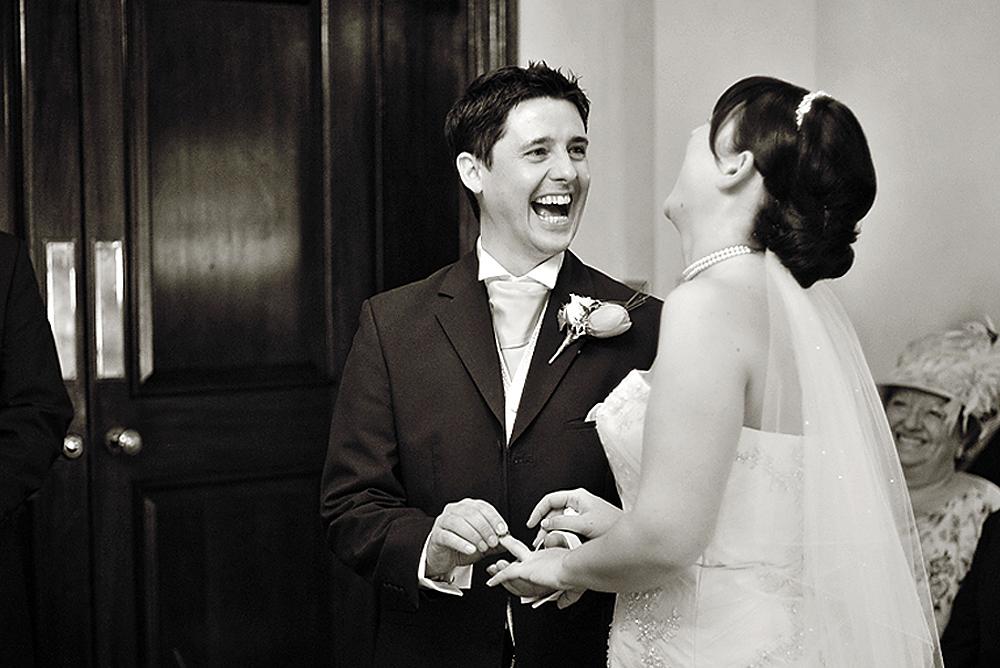 Laughter! Bride, groom, ceremony