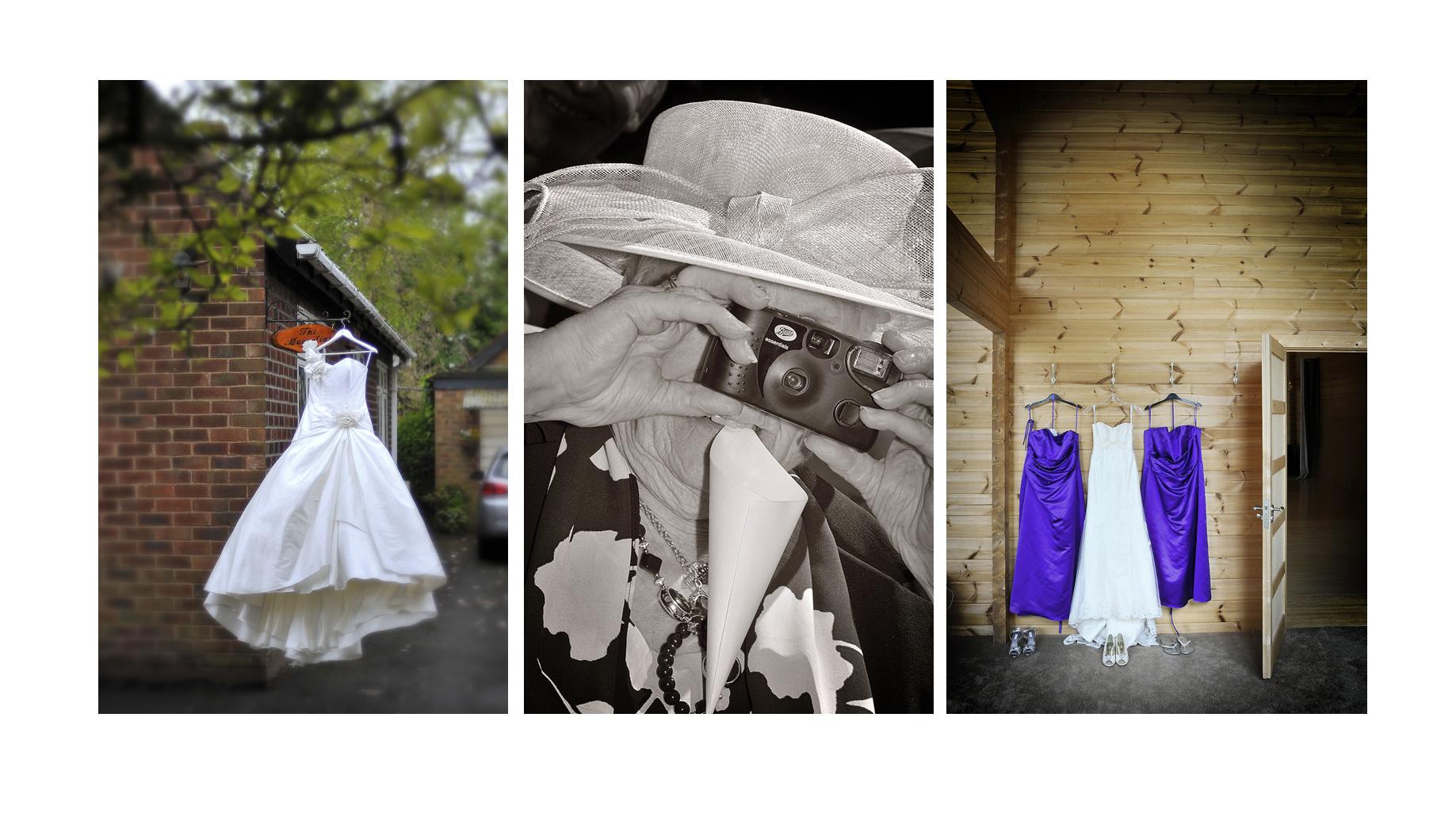 bride's dresses, grandma, camera