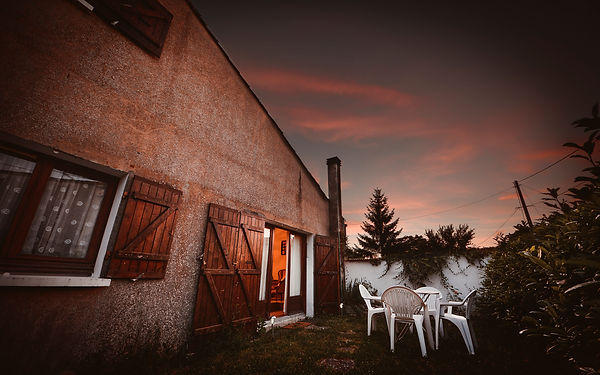 sunset over a French gite