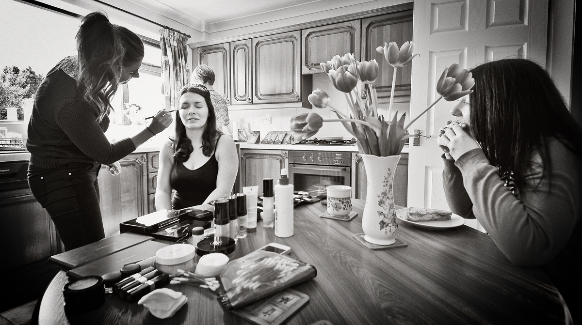 Bride's make-up .. and a sandwich!