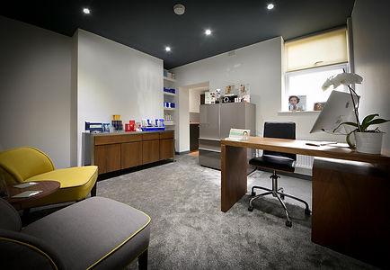 Office, desk, computer, chairs, flower