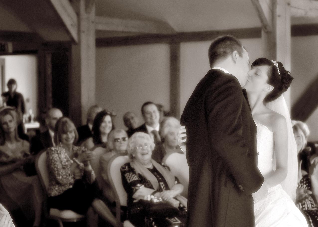 Couple kiss, Wedding, Styal Lodge