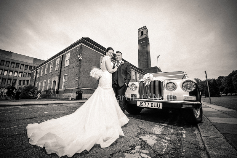 bride, groom and rolls-royce