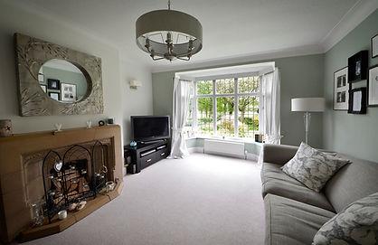 Living room, lounge, settee, lamp-shade, windows