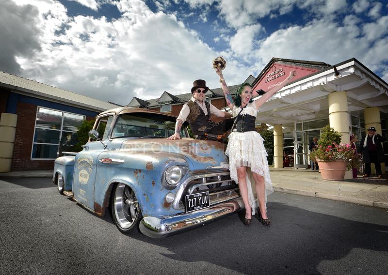 Steam-punk wedding couple