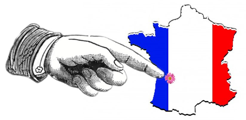 Map of France with pointing finger