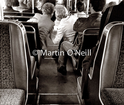 Ladies chat on bus