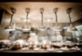 restaurant, kitchen, servery, plates, lights