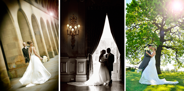Three bridal poses,Cheshire  wedding