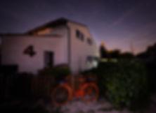 gite, night sky, stars, bike