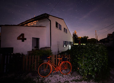 gite, night sky, stars, bike