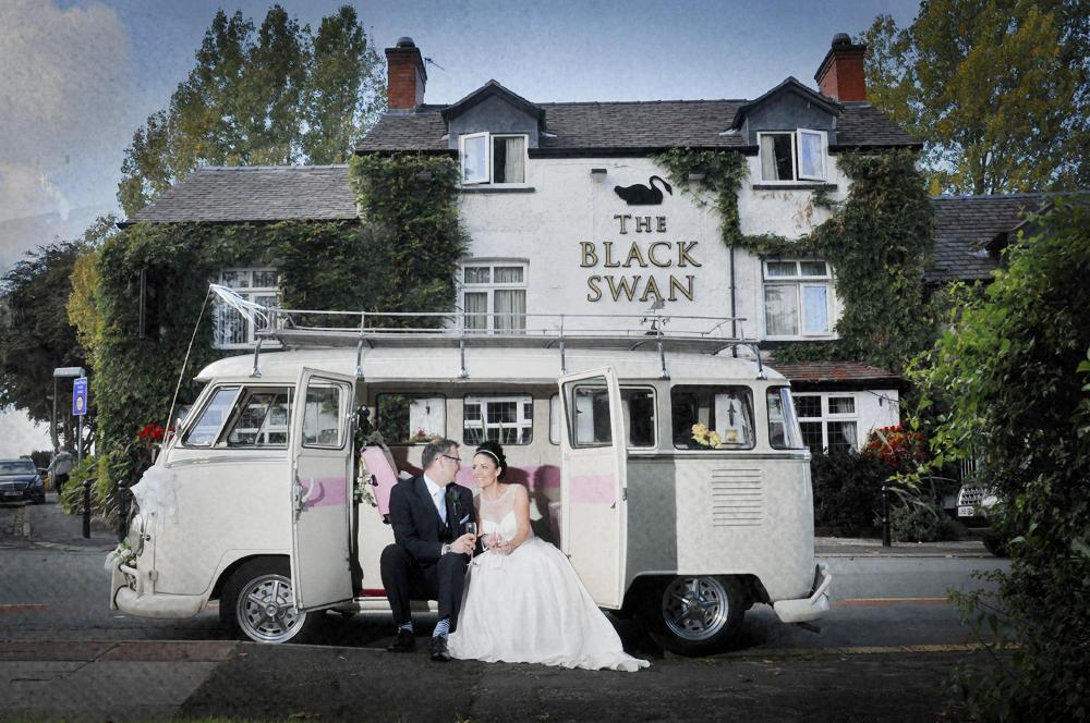 Campervan, wedding, bride