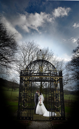 Bride and groom in wedding photograph