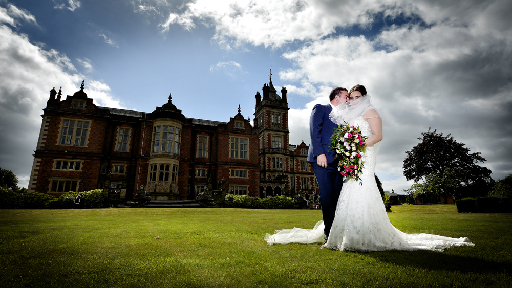 Bride, groom, Crewe Hall