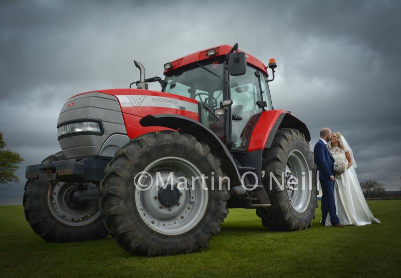 Bride, groom, tractor