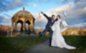 Bride, groom, gazebo, Salem common