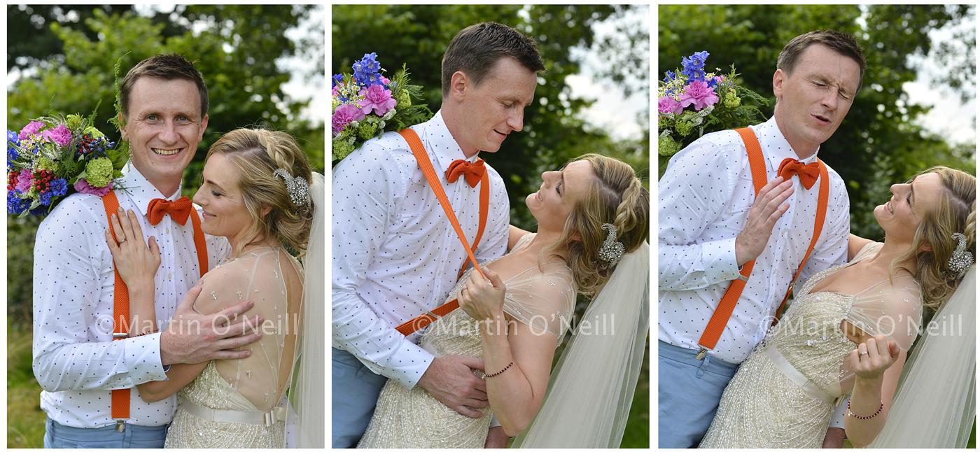 Bride and groom, braces