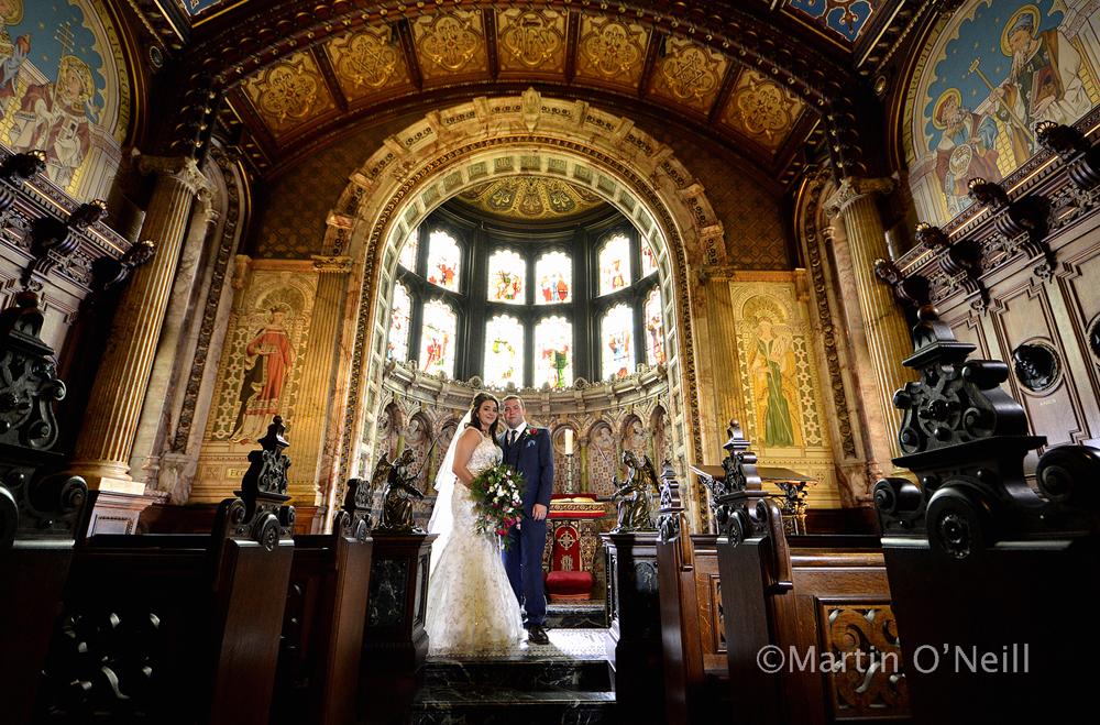 Chapel, bride, groom, Crewe Hall