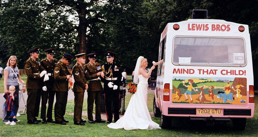 Bride queues for ice-cream