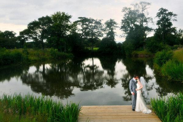 bride, groom, lake, Styal Lodge
