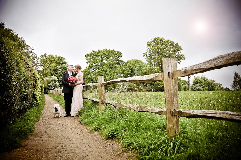 Bride, groom, fence, dog