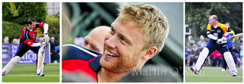Freddie Flintoff plays cricket