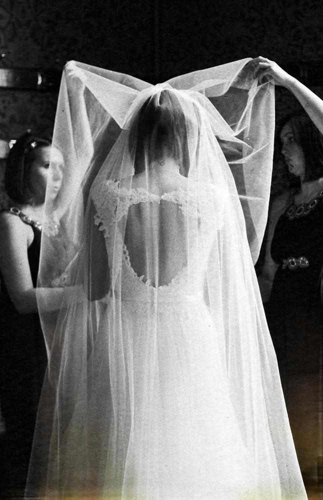 Bridesmaids help bride, Manchester