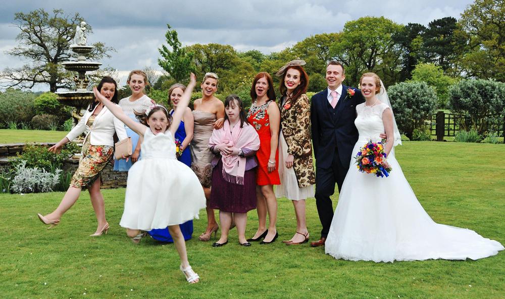 Photobomb, wedding, flowergirl
