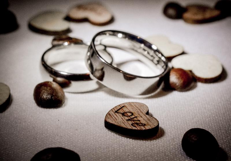 Wedding rings, love heart