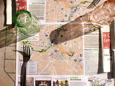 tourist map, dining table