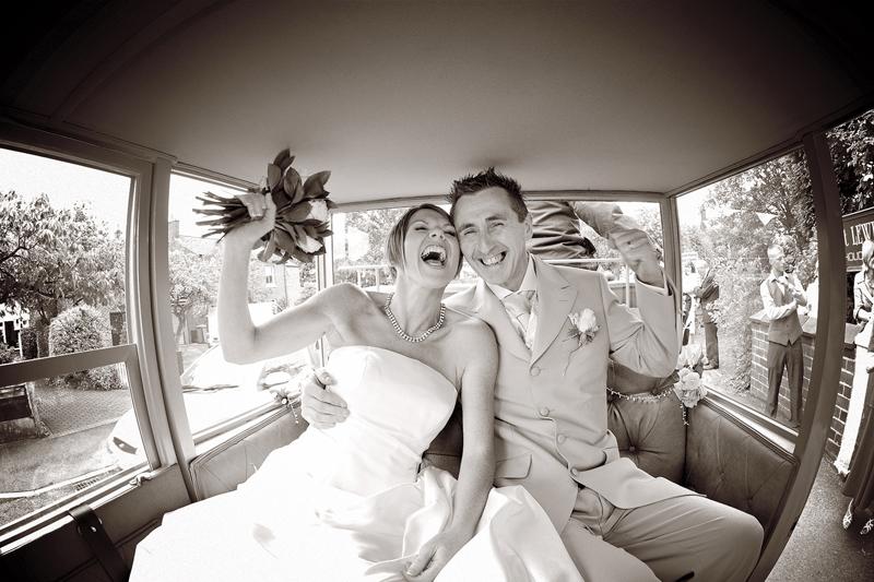 Bride, groom, laughter