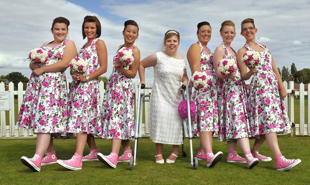 A bride and pals show off shoes