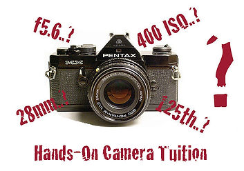 Camera, lens, tuition sign