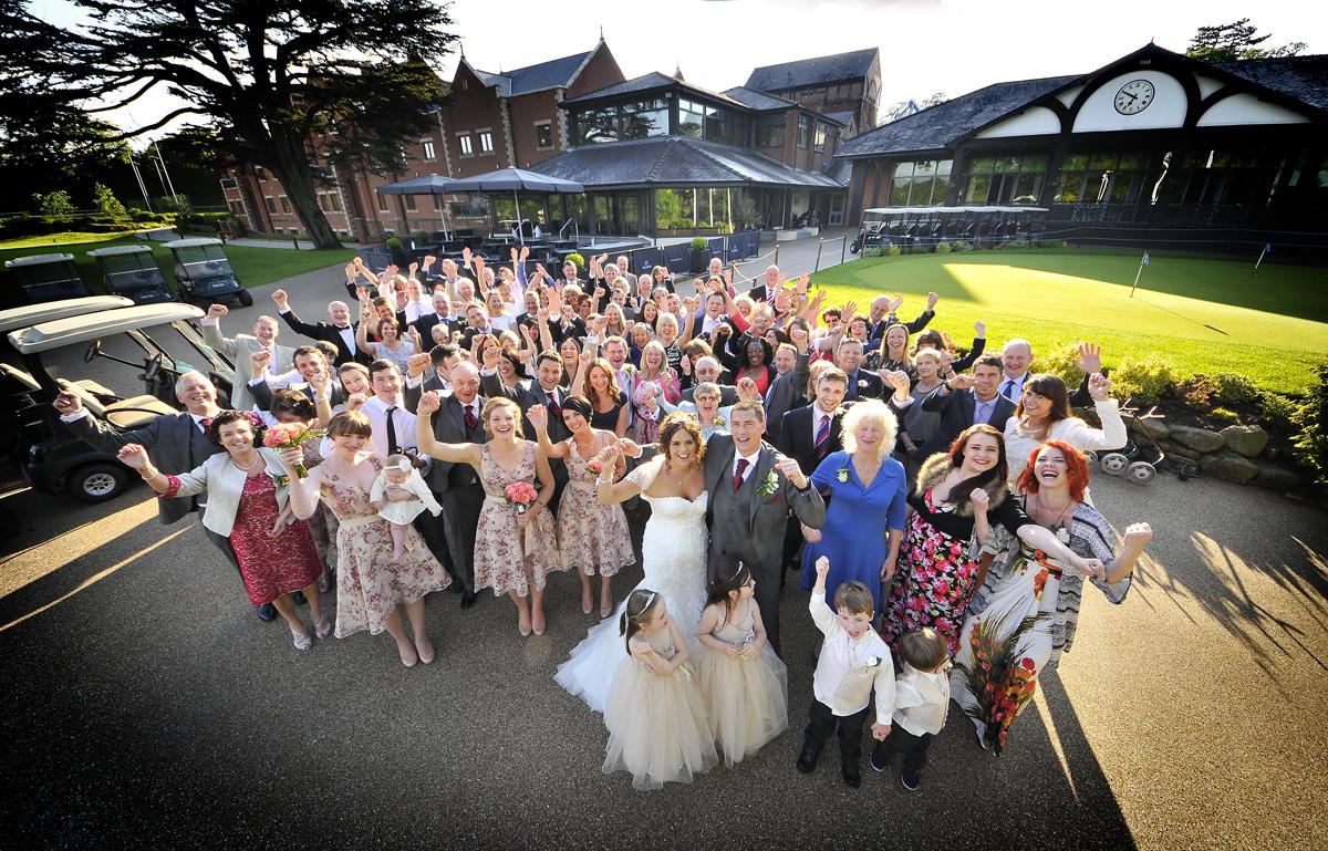 Group shot at wedding, Mere Golf