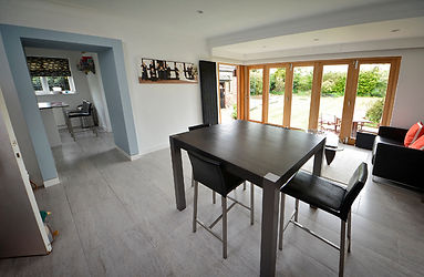 Kitchen, dining table, tiles, french doors