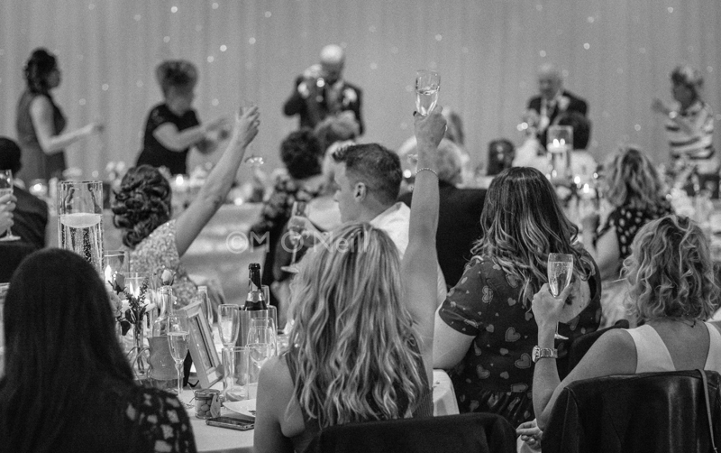 Wedding guests toast bride and groom